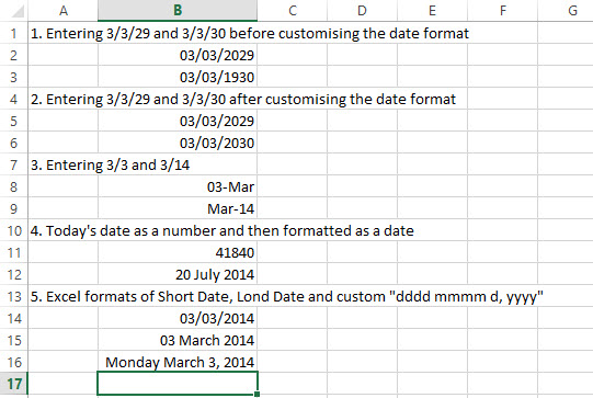 Excel Dates Functions 2
