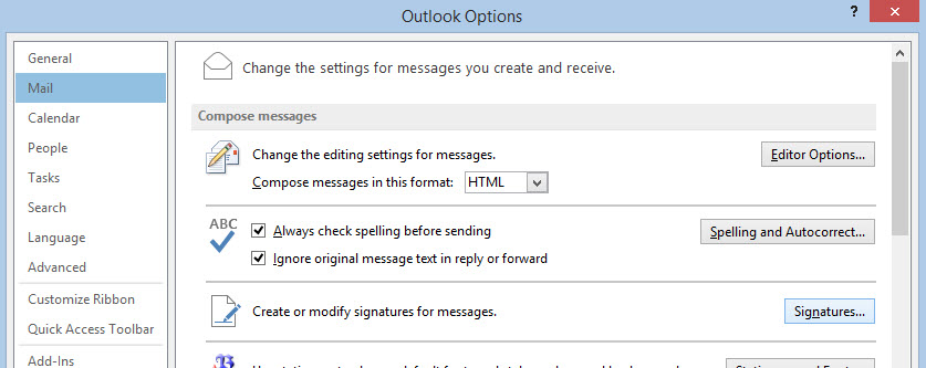 Outlook Signature Step 1