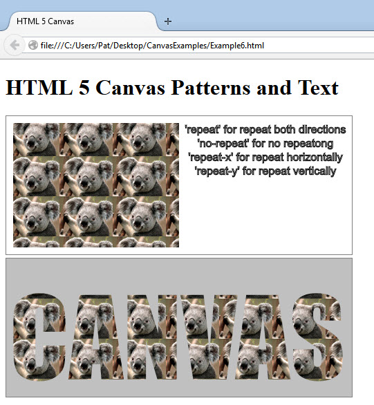 HTML5 Canvas Pattern fills and text