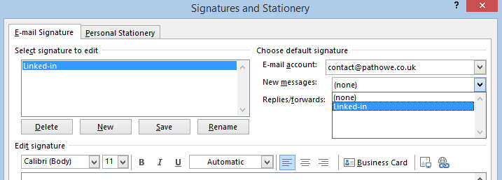 Outlook Signature Step 2