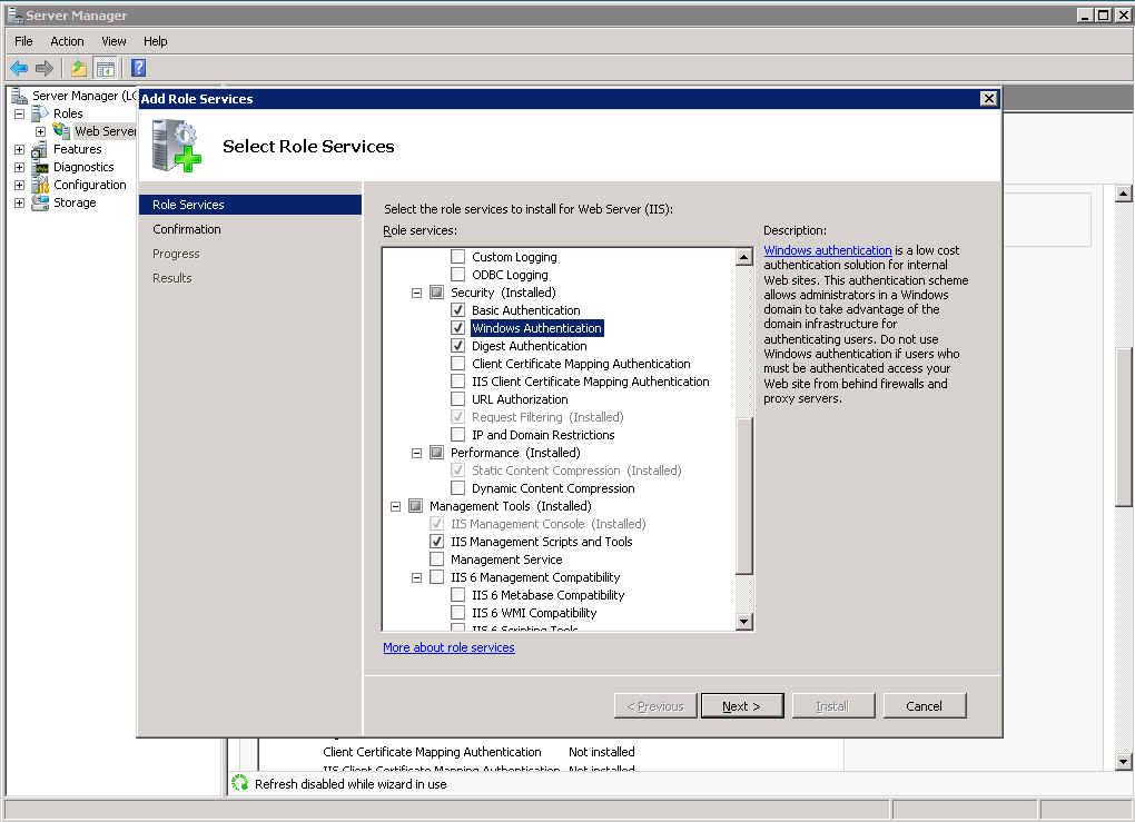 Setting up delegation between servers for Windows authenticated