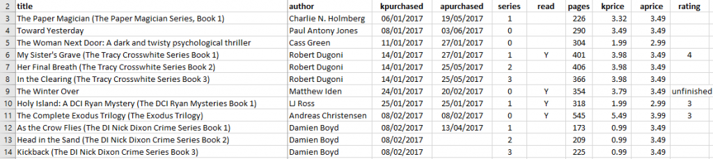 Excel Book List
