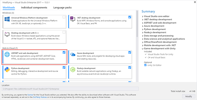 visual studio enterprise web apps