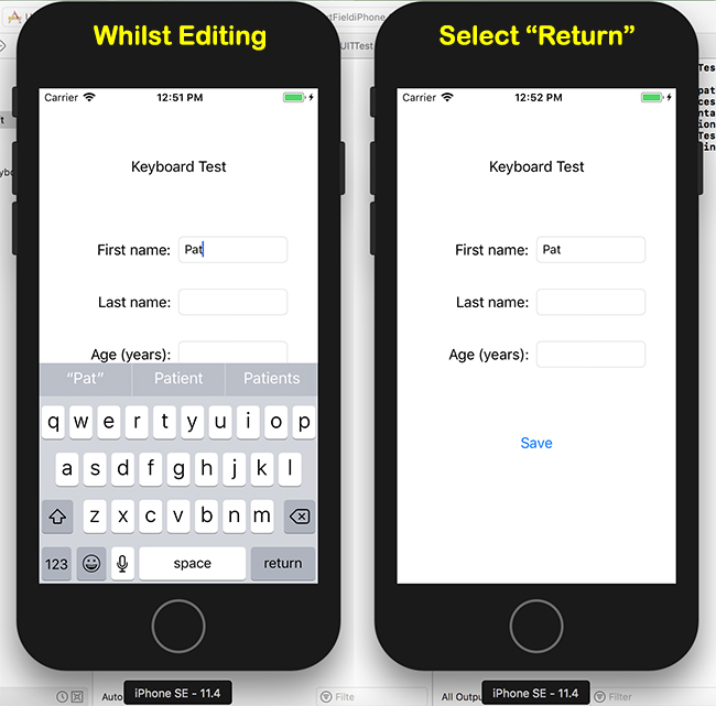 Editing and selecting return on the iOS soft keyboard