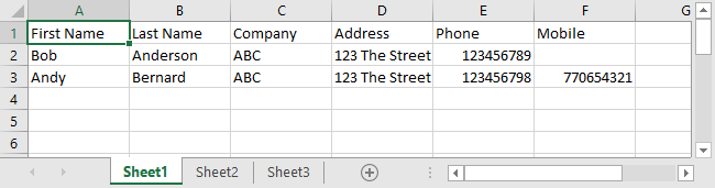 Excel Data Consolidation Example 01