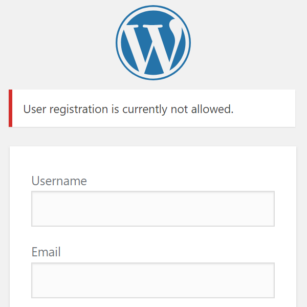 Registration Disabled