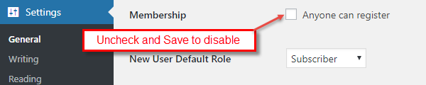 Disable Membership