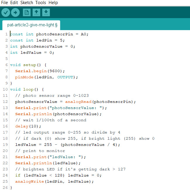 Arduino Light Sensor Code - Pat Howe's Blog