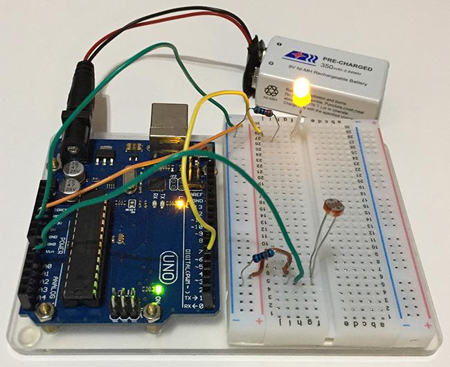 Arduino Light Sensor On