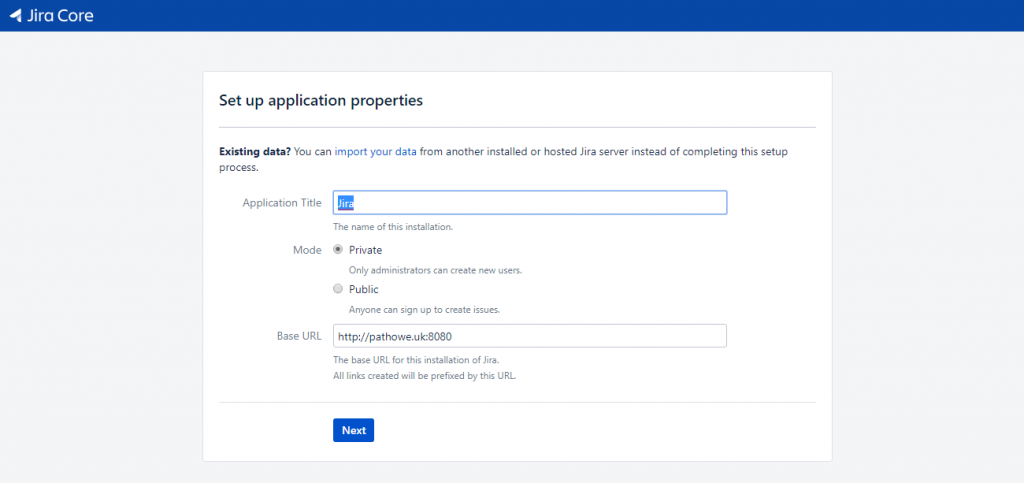 Jira - Application Settings