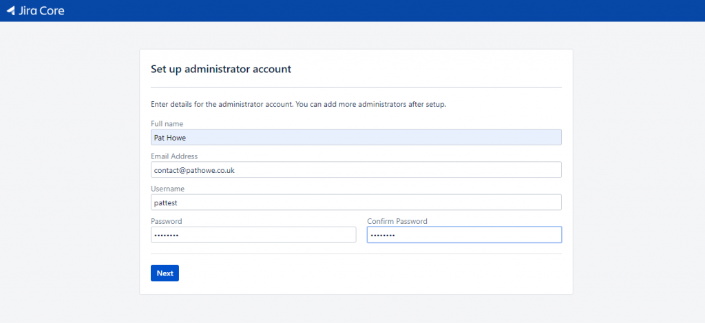 Jira - Create Admin Account