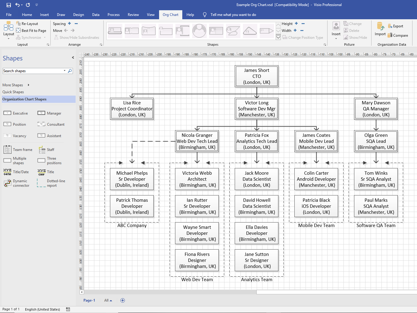 Visio Org Chart in old style