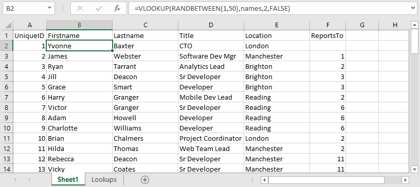 Example Excel Data