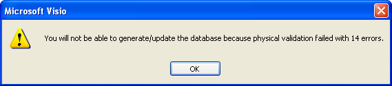 Visio DB Generation Error Example
