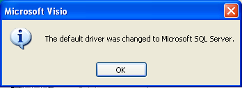 Visio Default Driver Changed to SQL Server