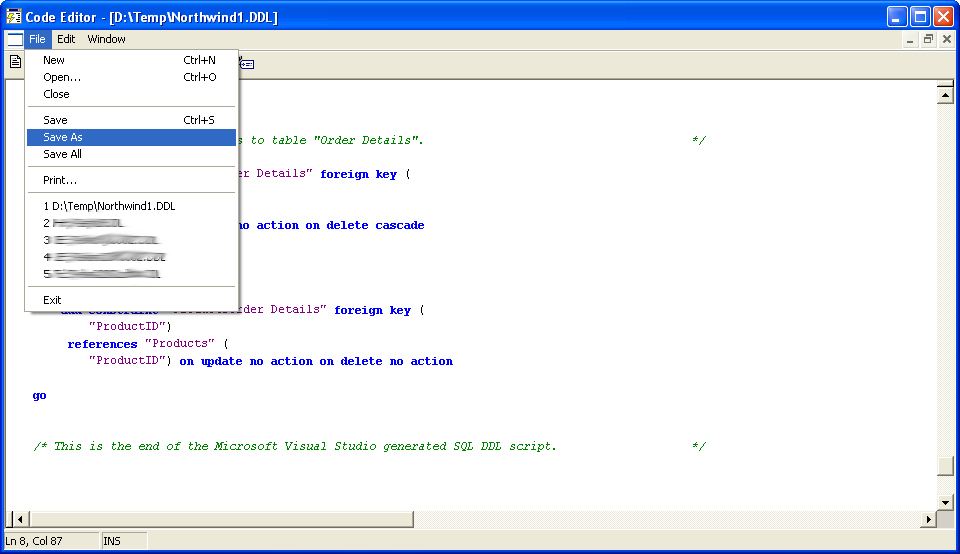 Visio Database Generated Script