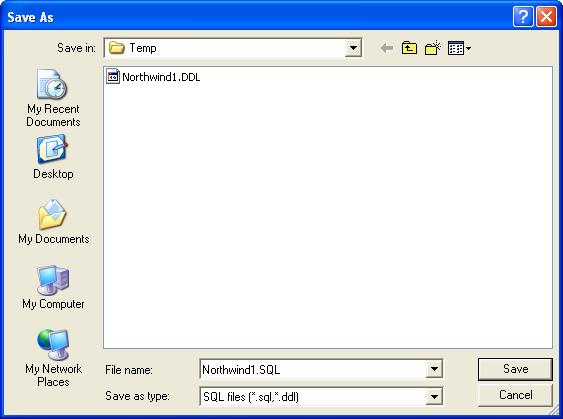 Visio Database Generated Script - Save As