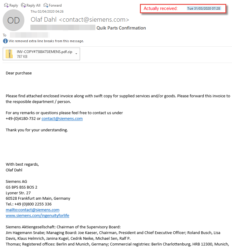 Dodgy Invoice Scam Email